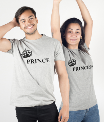 T-shirt di coppia prince e princess