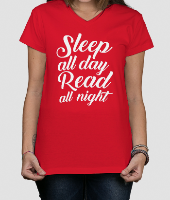 T-shirt tekst Sleep all day Read all night