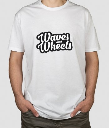 T-shirt surf waves and wheels