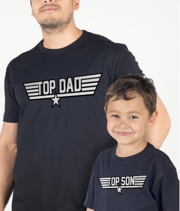 Pärchen T-Shirt Top Dad und Top Son