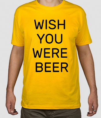 T-shirt con scritta Wish you were beer