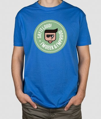 T-shirt tekst Geek and proud