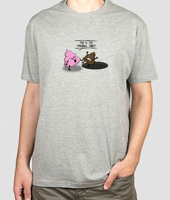 T-shirt trappende poep