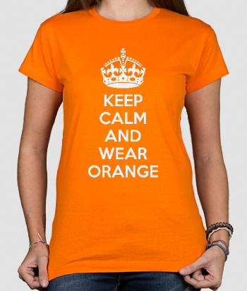 T-shirt tekst keep calm and wear orange
