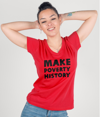 T-shirt tekst make poverty history