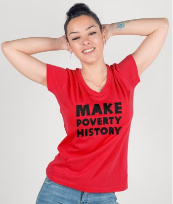 Camiseta con mensaje Make poverty history