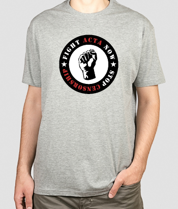 T-shirt tekst logo fight ACTA