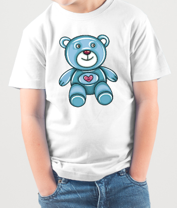 Kinder T-Shirt blauer Teddy