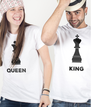 T-shirt duo schaken King and Queen