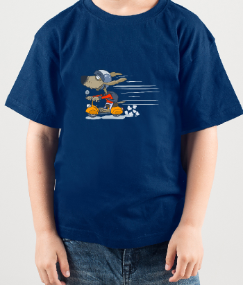 Kinder T-Shirt Hund mit Moped