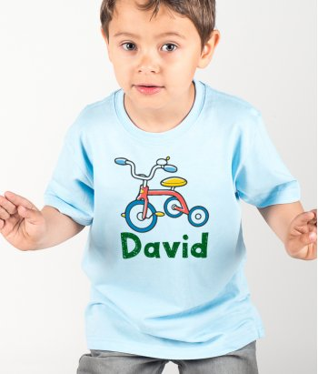 T-shirt personnalisable tricycle prénom