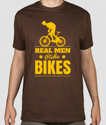 T-shirt sport tekst Real Men Ride Bikes