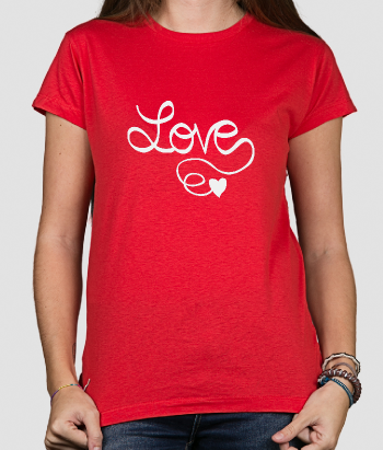 T-shirt texte message Love calligraphie