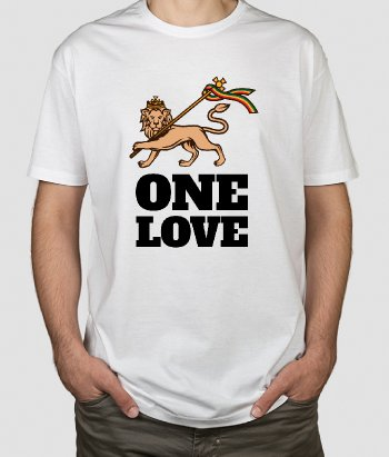 T-shirt One Love Leeuw Rasta