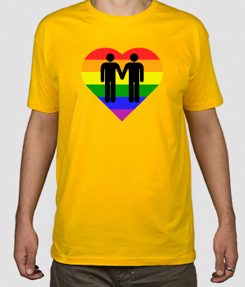 T-shirt disegno cuore gay