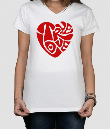 T-shirt texte coeur true love