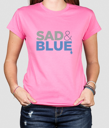 T-shirt tekst Sad and Blue
