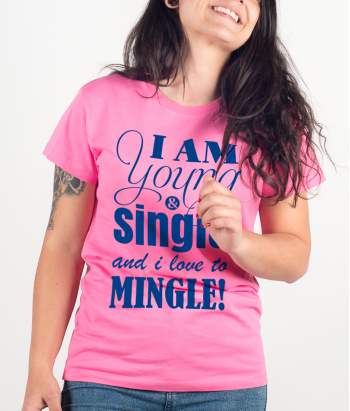 T shirt con scritta Young and Single