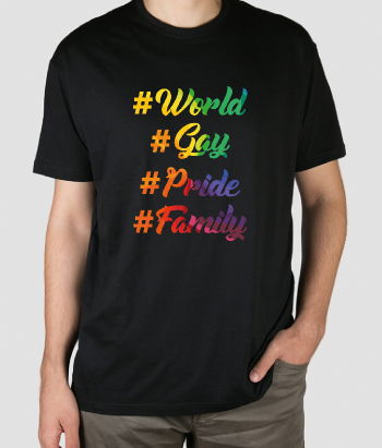 T-shirt gay famille hashtag