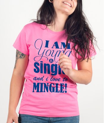 T-shirt Tekst Young and Single