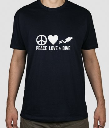 Camiseta peace love and dive