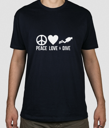 T-shirt scritta Peace Love and Dive