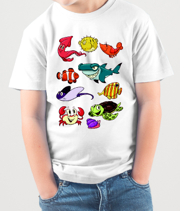Kinder T-Shirt Meerestiere