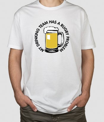 T-shirt tekst Drinking team Rugby