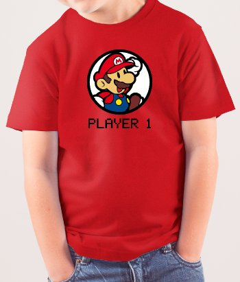 T-shirt player 1 mario