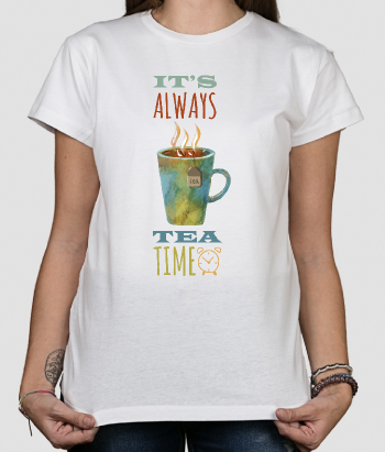 T-shirt con scritta Tea time