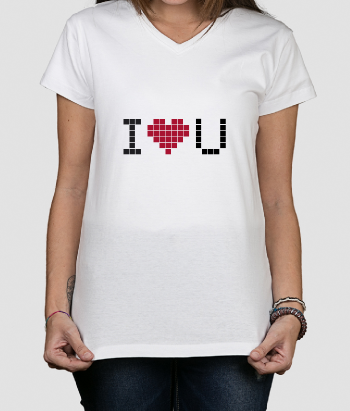 Camiseta retro Love U pixel
