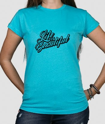 Life is Beautiful 3D Text T-Shirt