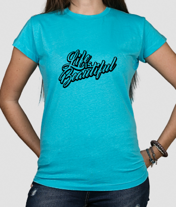 T-shirt tekst Life is Beautiful 3D