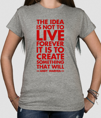T-shirt con scritta Warhol live forever