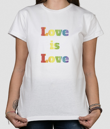 T shirt con scritta Love is Love