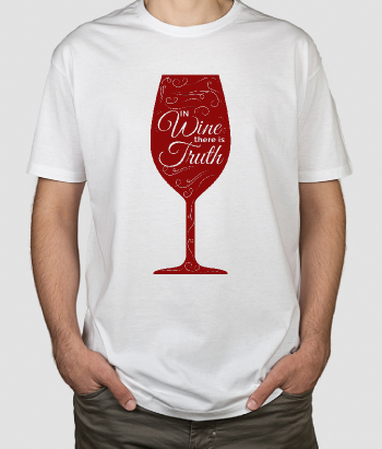 T-shirt con scritta Wine is truth