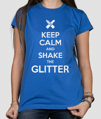 T-shirt tekst keep Calm shake Glitter