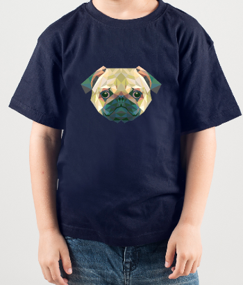 T-shirt divertente Carlino geometrico