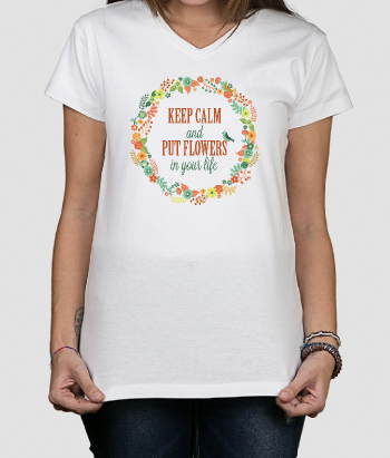 T-shirt Keep Calm Bloemen