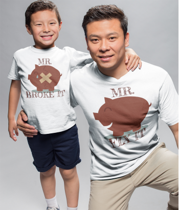 Camiseta para padres e hijos mr broke it mr fix it