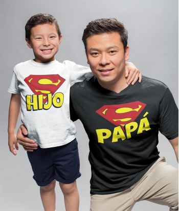 Kit camisetas super padre y super hijo