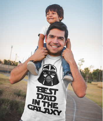 T-shirt tekst Best Dad Galaxy